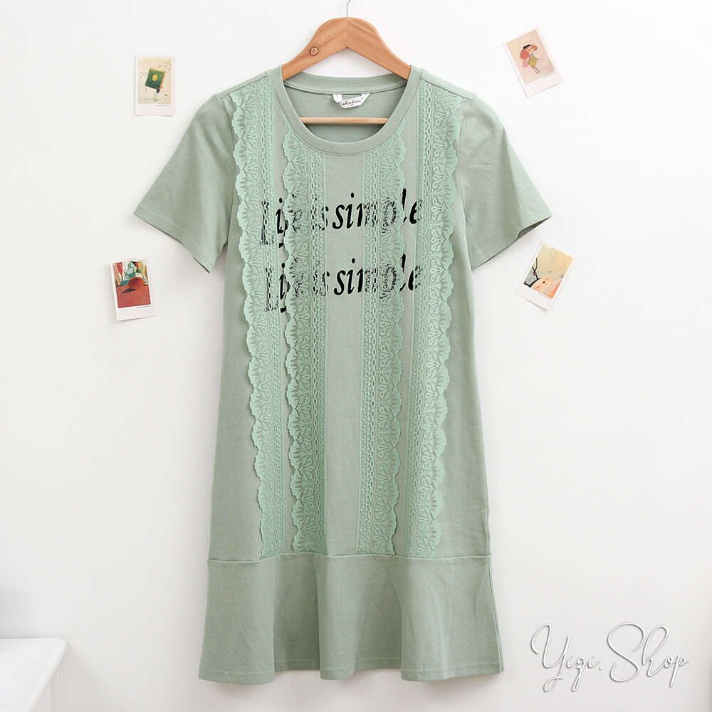 衣綺衣著l2143字母蕾絲拼接圓領棉質短袖洋裝