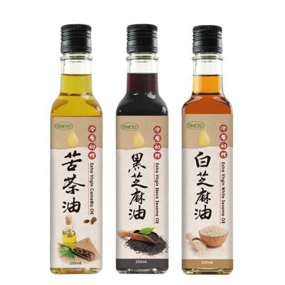 【樸優樂活】冷壓初榨苦茶油+黑白麻油超值組(250ml*3瓶) (2.7折)