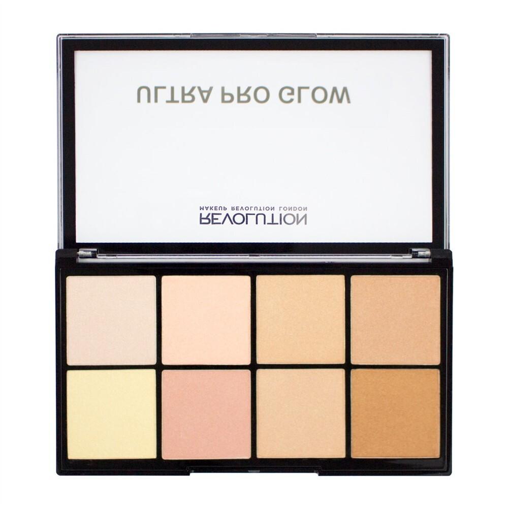 愛來客 英國makeup revolution ultra pro glow 8色高光提亮修容盤