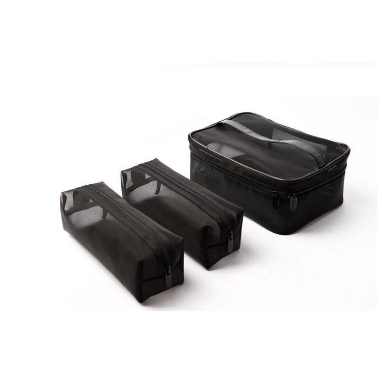 愛來客 cerro qreen 黑色透明紗網格化妝包 洗漱收納包紗網包3個 超值組