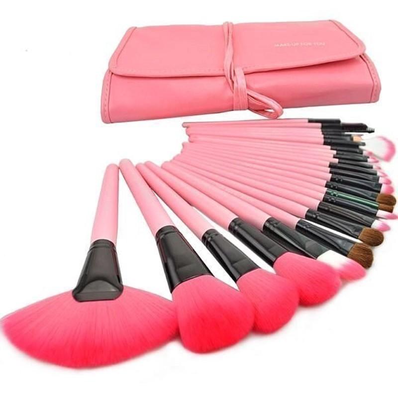 愛來客 專利商標品牌粉紅色24件化妝刷具組make up for you彩妝刷具組只要 乙丙級考