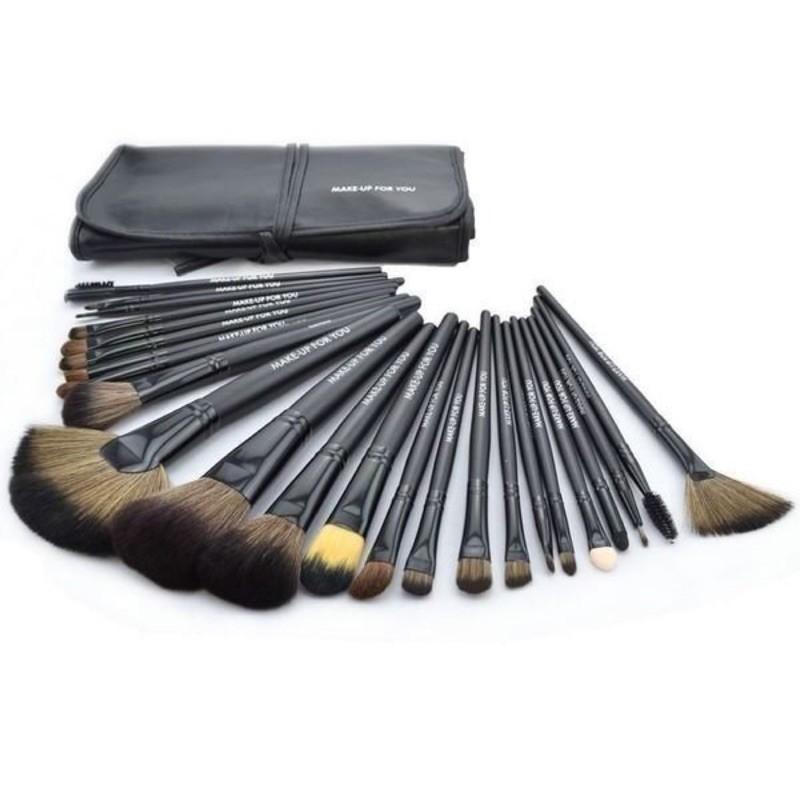 愛來客  專利商標品牌黑色24件化妝刷具組make-up for you只要 乙丙級考試化妝刷
