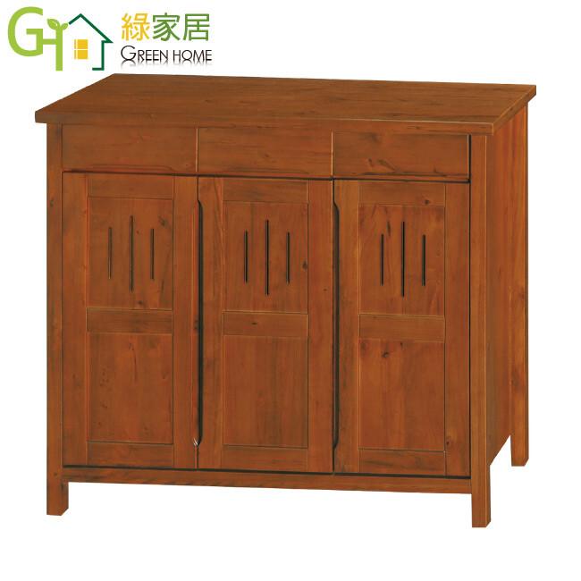 綠家居菲思 典雅風4尺三門三抽實木鞋櫃/玄關櫃