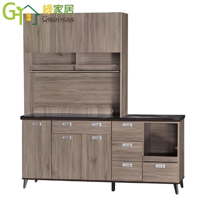 綠家居菲卡迪 現代風6尺黑紋石面餐櫃/收納櫃組合(上下座)