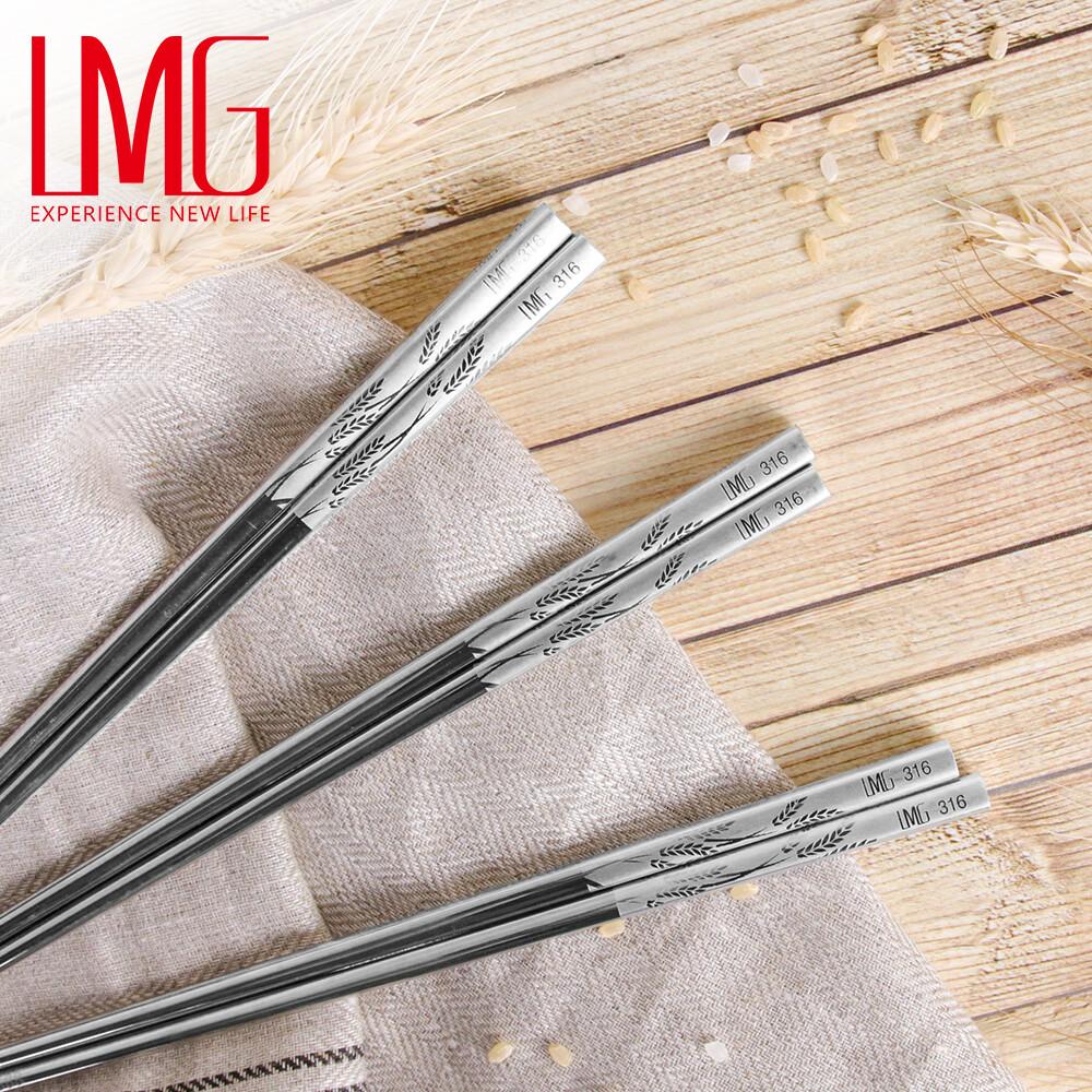 lmg-316不鏽鋼防滑日式方角稻香筷(5雙/入)