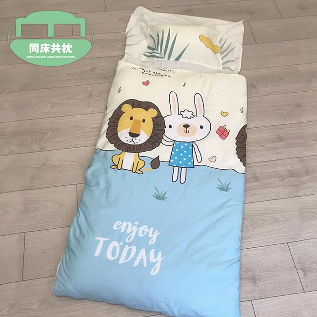 同床共枕  smile 100%精梳棉 多功能冬夏兩用鋪棉兒童睡袋 135x150cm-獅子與兔