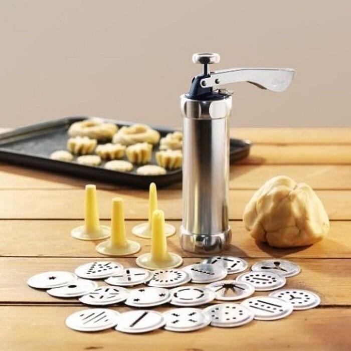 不鏽鋼餅乾機ni084曲奇餅手做餅乾模具diy家用筒式擠壓裱花機20個花片曲奇槍 烘焙工具