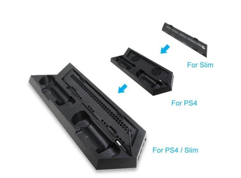 ps4/slim適用立架兩用型 直立架 立架+雙風扇散熱器+雙手把充電座放置架含3組usb