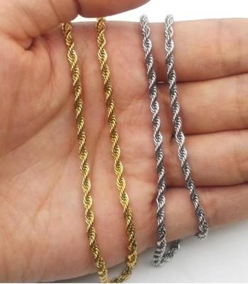 【不銹鋼麻花項鍊】不銹鋼麻花鏈3mm 真空電鍍 嘻哈項鍊 鑰匙鍊條 皮夾鍊條 中國有嘻哈 (4.2折)