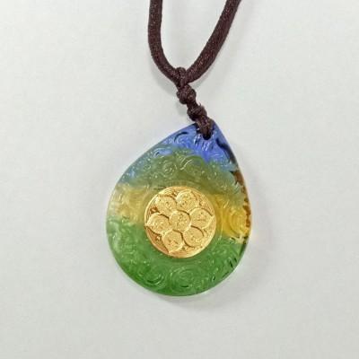 觀音心咒 六字大明咒 三色琉璃 吊飾 項鍊 (3.9折)
