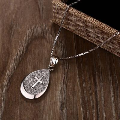 925純銀3a鋯石水滴造型十字架吊墬+45公分925純銀鍍白金保護層項鍊 (6.2折)