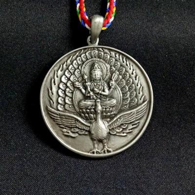 佛母 孔雀明王 古銀質感 項鍊 吊飾 (7.1折)