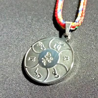 觀音心咒 六字大明咒 鋼質感 項鍊 吊飾 (5.4折)
