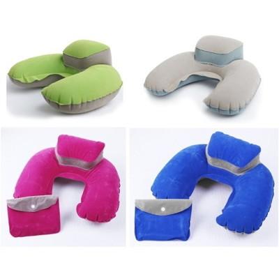 U型 頭墊式 絨布 充氣枕 午睡枕 附收納袋 眼罩 耳塞 (5折)