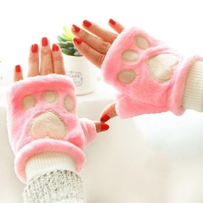 雙層毛絨 可愛貓爪手套 保暖半指手套 (5.2折)