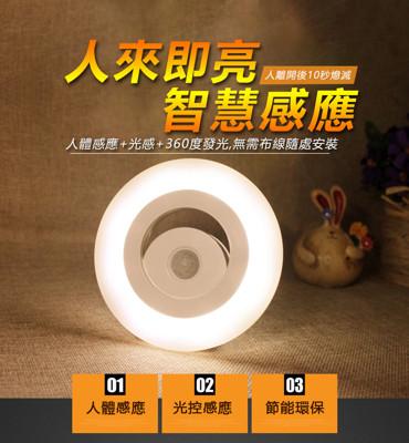 360度全方位人體感應LED照明燈 人體感應+光感控制感應燈 (2.9折)