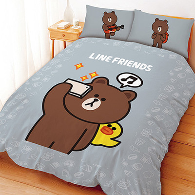 LINE正版授權床包被單 - 熊大莎莉愛自拍超纖雙人被單/SU7697/寢具/床墊/卡通被單 (4.1折)