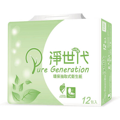 春風淨世代環保抽取式衛生紙100抽*12包*6串 (8.6折)