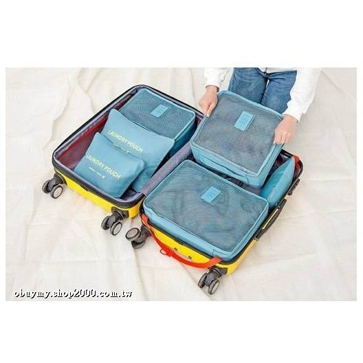 韓國旅行收納袋六件組 防水小飛機防水網格化妝包旅遊收納袋行李箱 6色 (隨機出貨)