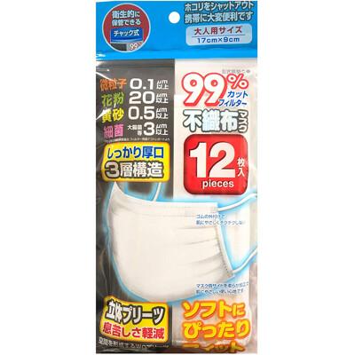 現貨立即出【日本進口】!成人三層不織布口罩/防塵口罩/衛生口罩 (12片/包) (2.3折)