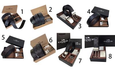 COACH 皮帶禮盒皮帶+雙頭西裝(洞扣)國際正版保證進口防水防刮皮革品證禮盒提袋等候10-15日 (3.1折)
