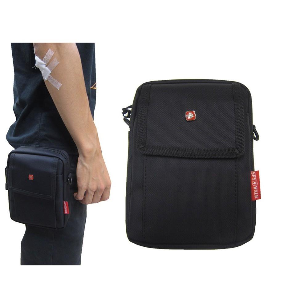 ~雪黛屋~spywalk 腰包6吋手機拉鍊主袋外袋5.5寸手機外掛式工具包隨身物品主袋+外袋共二層防