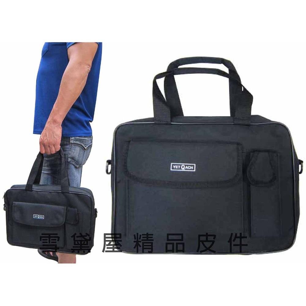 ~雪黛屋~yet-ach 文件包拉鍊主袋mit簡易設計可放a4資料夾可手提肩背斜側背防水尼龍布材質#