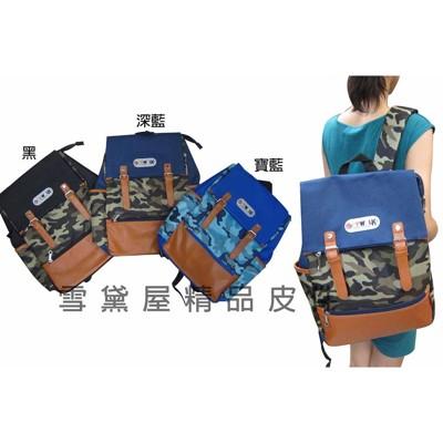 ~雪黛屋~SPYWALK後背包防水尼龍布+皮革材質可放A4資料夾學院風格二方向主袋口設計 014-2 (10折)