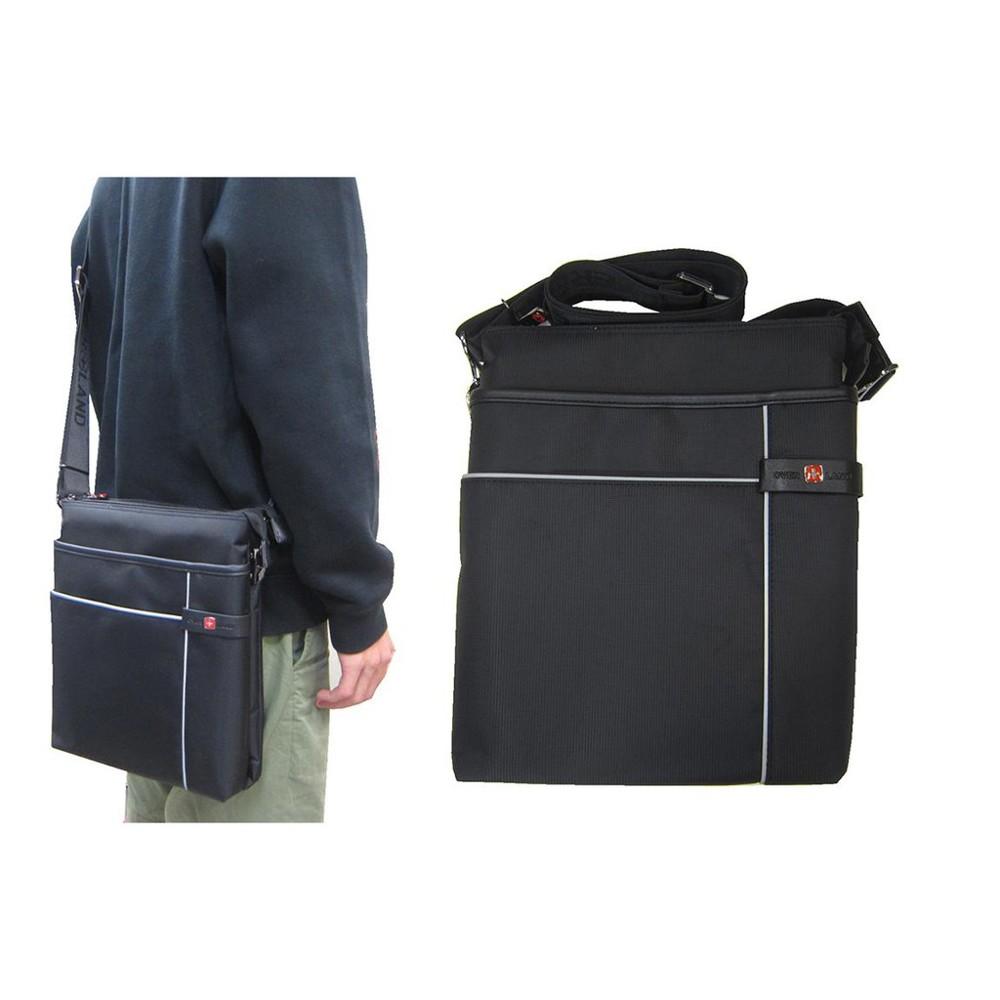 ~雪黛屋~over-land 肩側包中容量主袋+外袋共六層扁型包設計三層主袋口防水尼龍布+皮革中性款