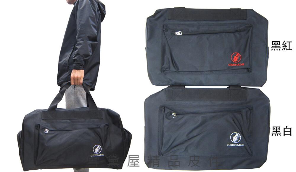 旅行袋大容量防水尼龍布雙拉鍊頭拉鍊式主袋附活動型護肩止滑長背帶手提肩背斜側底部硬式撐板