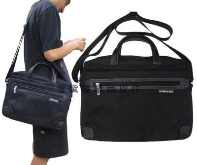Kawasaki 公事包進口專櫃可13吋電腦小型文件包高單數進口防水布+牛皮可A4資料夾附長背帶 (3.9折)