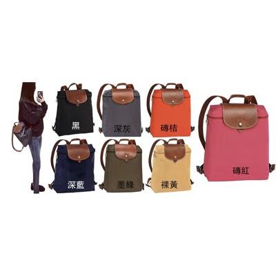 ~雪黛屋~LONGCHAMP 後背包中容量進口防水尼龍布+牛皮革材質可收納附品証塵套提袋候10-15 (10折)