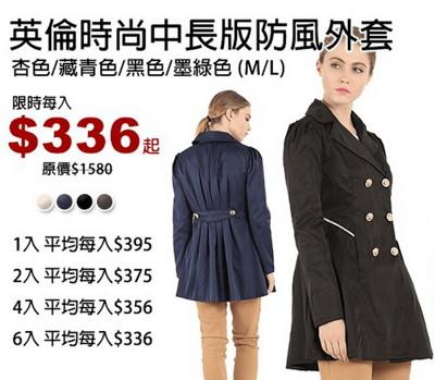 英倫時尚中長版防風外套 (2.2折)