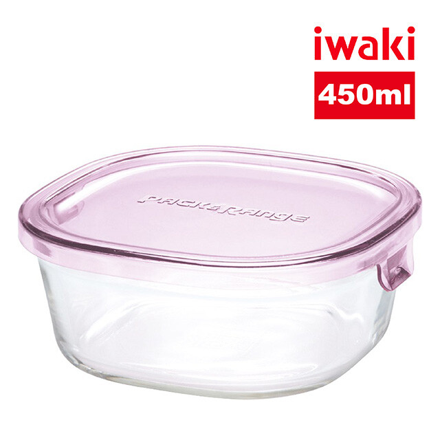 iwaki日本品牌耐熱玻璃微波盒450ml(粉)4入組