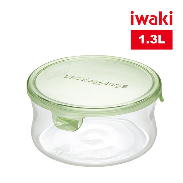 iwaki日本品牌耐熱玻璃微波罐1.3l(圓形綠)