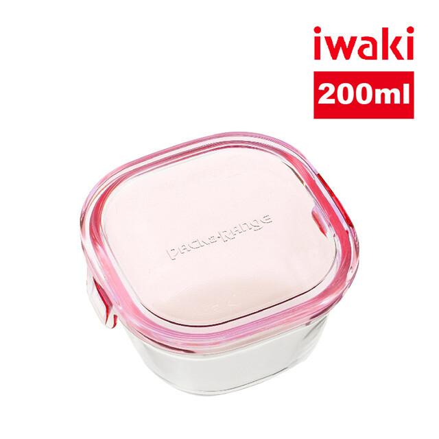 iwaki日本品牌耐熱玻璃微波盒 200ml(粉)
