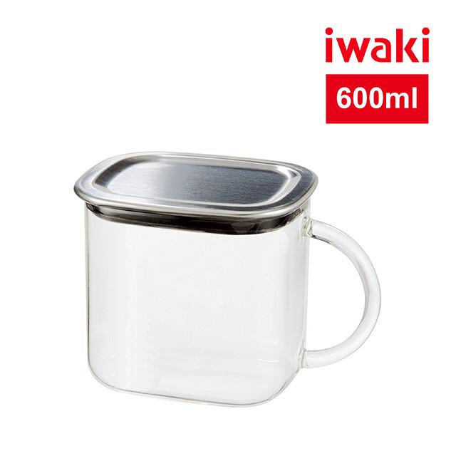 iwaki日本耐熱玻璃不銹鋼蓋方型收納盒600ml