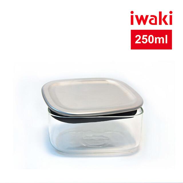 iwaki日本耐熱玻璃不銹鋼蓋方型收納盒250ml