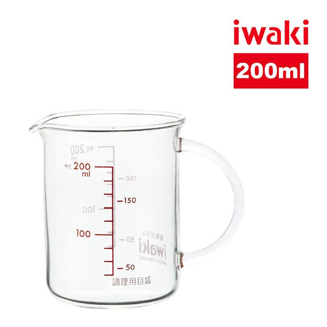 iwaki耐熱玻璃微波把手量杯200ml-2入組