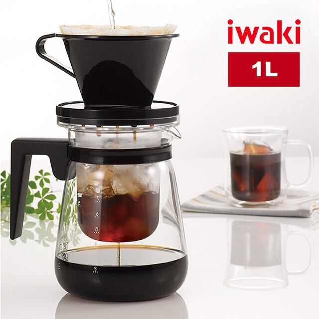 iwaki日本品牌冷/熱兩用耐熱玻璃咖啡壺1l