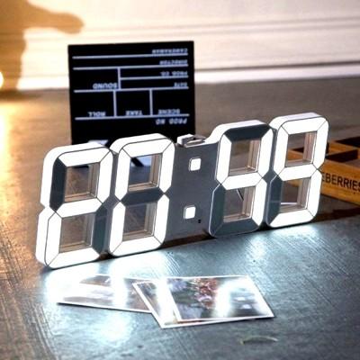 LED數字時鐘 立體電子時鐘 可壁掛 科技電子鐘 數字鐘 電子鬧鐘 掛鐘 萬年曆 (5折)