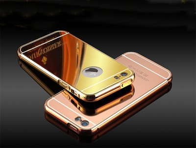 Apple iPhone5 5s 5c se 手機殼 鋁合金邊框+鏡面背板 防摔手機保護殼 (6.3折)