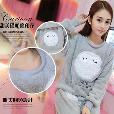 韓版可愛毛絨珊瑚絨保暖二件套睡衣 (3.8折)