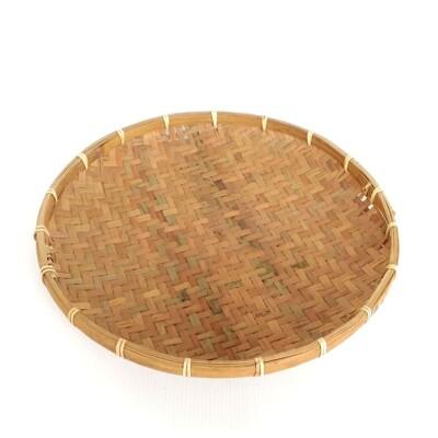DecoBox日曬用薄竹盤(35公分)(竹編織盤.乾阿.湯圓篩.洗菜籃.土豆苔.竹篩) (3.6折)
