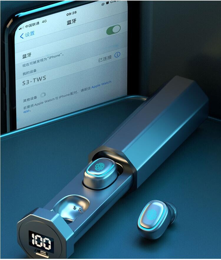 新款tws無線藍芽耳機hifi抽拉式5.0觸控入耳式數顯藍芽耳機f9