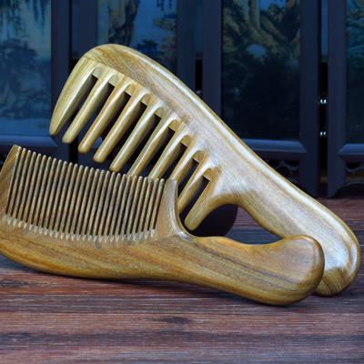 天然檀木梳捲髮寬齒梳綠檀木梳子防靜電按摩粗齒大齒梳刻字【免運】 (5折)