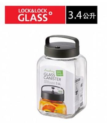 樂扣單向排氣閥玻璃密封罐-3.4L--手提式-LLG-554 (8折)