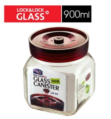 樂扣單向排氣閥玻璃密封罐-900ml-LLG-551 (8折)