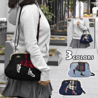 【出清特價】日系帆布鞋手提側背口金包 (7.4折)