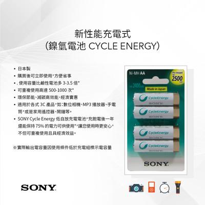 [SONY]日本製高效能3號(2000mAh) 4號(800mAh)充電電池組 (8.5折)